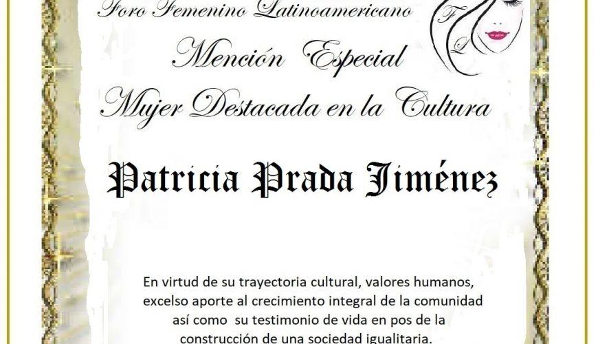 Patricia C Prada Jimenez, Distinción Mujer Destacada en la Cultura